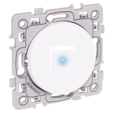 Bouton poussoir lumineux 1 poste Square - 10AX - 250V - Blanc - 60205