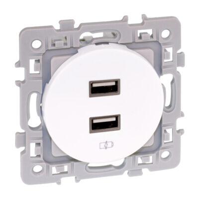 Prise chargeur USB femelle 1 poste Square - 5.5V - Blanc - 60229