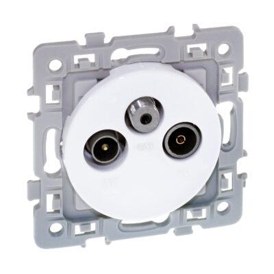 Prise TV+FM+SAT 1 poste Square - 250V - Blanc - 60266
