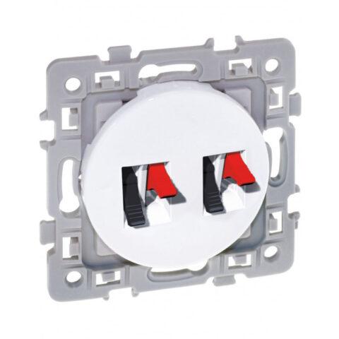 Double prise haut-parleur Square - 250V - Blanc - 60275