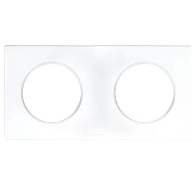 Plaque double blanc - 2 postes - Entraxe 71mm - Blanc - 60297
