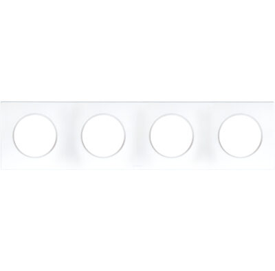 Plaque 4 postes Square Eur'Ohm - Blanc - 60299