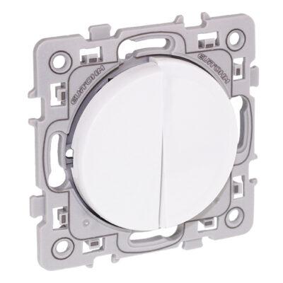 Va-et-vient + bouton poussoir Square 1 poste - Blanc - 60216