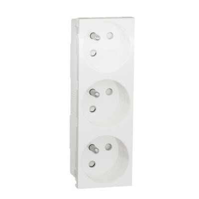 Schneider Triple prise de courant 2P+T Blanc - 45° - 16A -NU307918