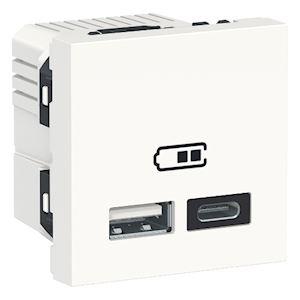 Schneider Prise d'alimentation USB 2m -Type A et C -Blanc -NU301818