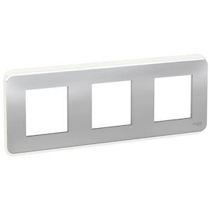 Schneider plaque de finition Aluminium 3 postes