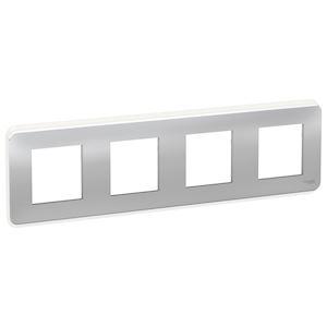 Schneider plaque de finition Aluminium - 4 postes -NU400830