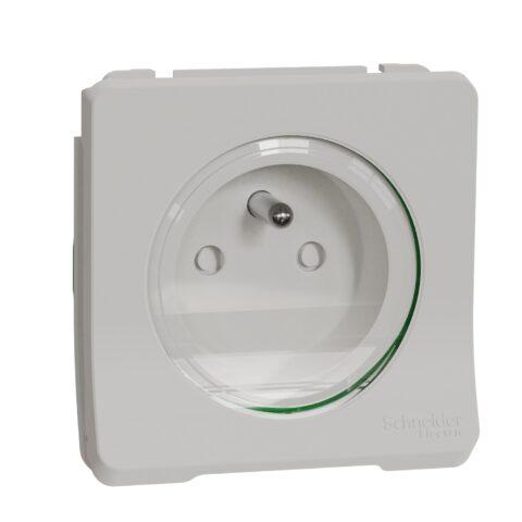 Prise de courant 2P+T IP55 IK08 auto - Composable - Blanc - Mureva -MUR39133