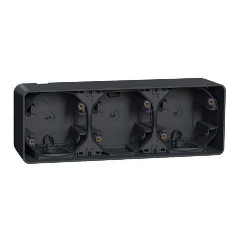 Boite 3 postes horizontale IP55 IK08 - En saillie - Gris anthracite - MUR37713