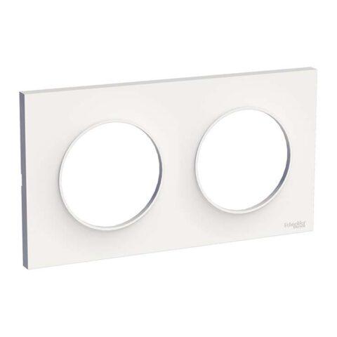 SCHNEIDER Plaque 2 postes blanc - Odace Styl- S520704