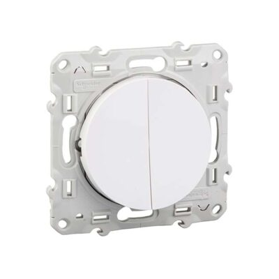 SCHNEIDER Odace Interrupteur va-vient + poussoir blanc - S520285