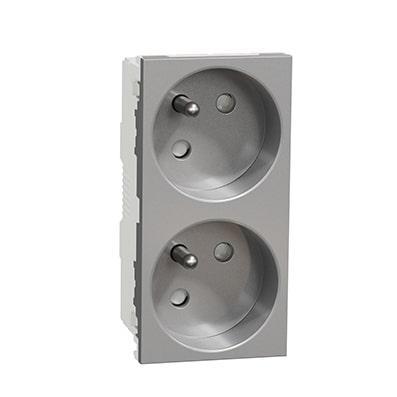Schneider Double prise de courant 2P+T Aluminium -16A -NU306930
