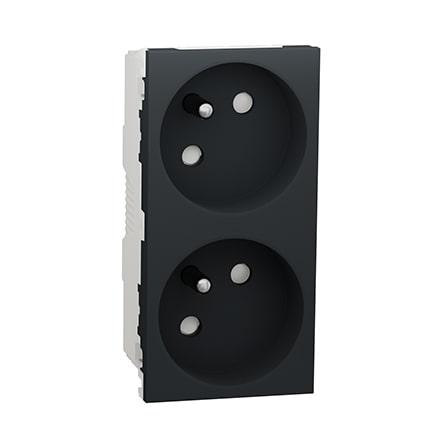 Schneider Double prise de courant 2P+T Anthracite Unica - 45° - 16A -NU306954