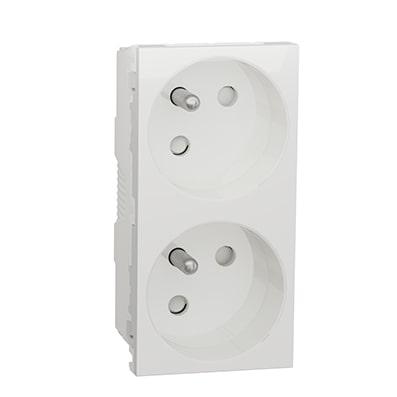 Schneider Double prise de courant 2P+T Blanc -45° -16A -NU306918
