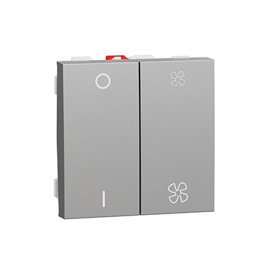 Schneider Interrupteur Aluminium pour VMC - 10A - Avec arrêt -NU321430-min