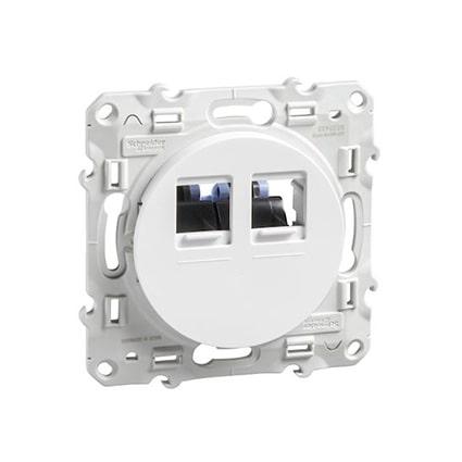 Schneider Odace prise multimédia double RJ45 grade 1 - blanc -S520485