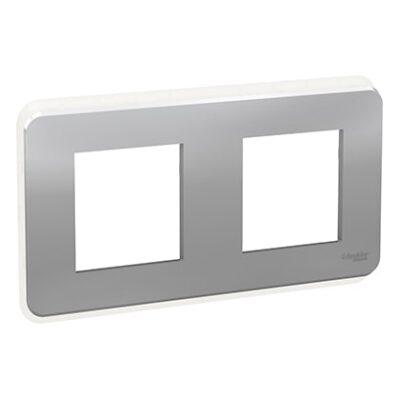 Schneider Plaque Aluminium 2 postes avec liseré transparent -NU400430