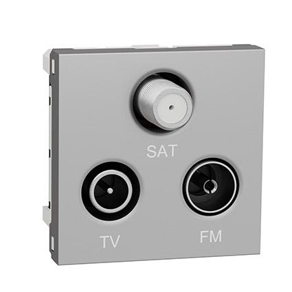 Schneider Prise FM/TV/SAT Alu - 2 modules -Unica -NU345030