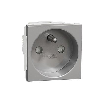 Schneider Prise de courant 2P+T Aluminium Unica - 90° - 16A -NU303930