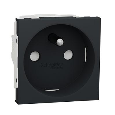 Schneider Prise de courant 2P+T Anthracite 90°-16A -NU303954