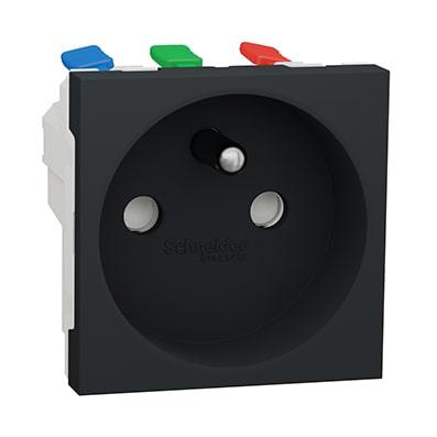 Schneider Prise de courant 2P+T Anthracite Unica - 90° - 16A - NU305954