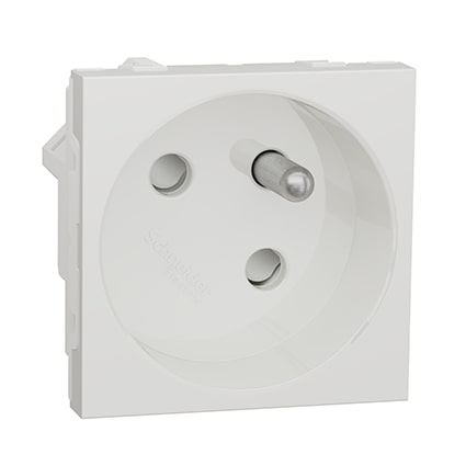 Schneider Prise de courant 2P+T Blanc Unica - 45° - 16A -SNU304918