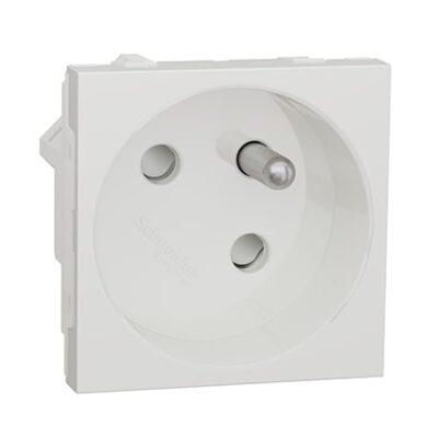 Schneider Prise de courant 2P+T Blanc-antimicrobien - 45° -16A -NU304920