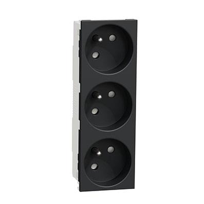 Schneider Triple prise de courant 2P+T Anthracite Unica - 45° -16A -NU307954