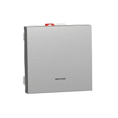 Schneider poussoir lumineux Aluminium- 10A - 2 mod - NU320630N
