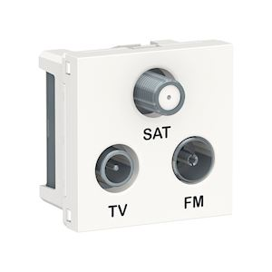 Schneider Prise FM/TV/SAT Unica - 2 modules - Blanc -NU345018