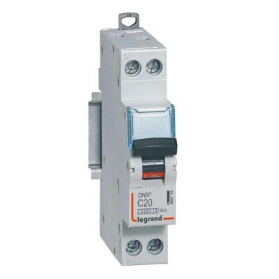 Disjoncteur Phase+Neutre DNX³4500 6kA arrivée et sortie borne à vis - 1P+N 230V_ 20A courbe C - 1 module