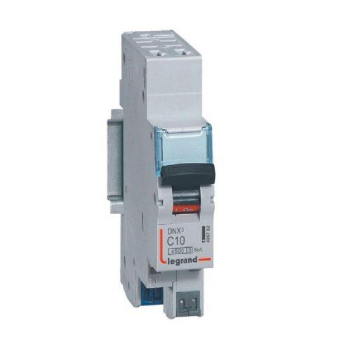 Disjoncteur Phase+Neutre DNX³4500 6kA arrivée et sortie borne automatique - 1P+N 230V_ 10A courbe C - 1 module-min