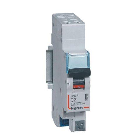 Disjoncteur Phase+Neutre DNX³4500 6kA arrivée et sortie borne automatique - 1P+N 230V_ 2A courbe C - 1 module-min