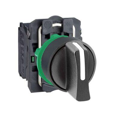 Harmony XB5 - bouton tournant manette - Ø22 - 3 pos fix - noir - 2F - vis étrier-min