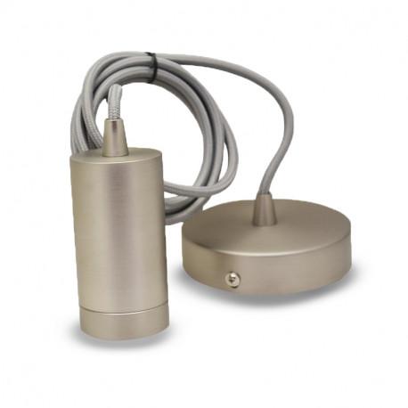 Vision-el Suspension Douille E27 Métal Cylindre Mat Nickel + Câble 2 M -5030