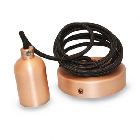 Vision-El Suspension Douille E27 Metal Cylindre Rond Cuivre mat + Câble 2 M -5012