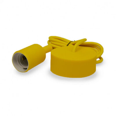 vision-El Suspension Douille Silicone E27 Jaune + Câble 2m -5007