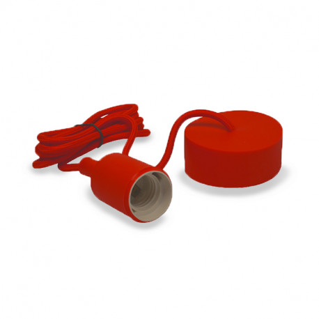 Vision-El Suspension Douille Silicone Rouge E27 + Câble 2m -5004