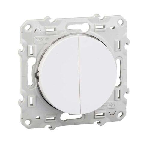 SCHNEIDER Double bouton poussoir blanc -Odace - S520216