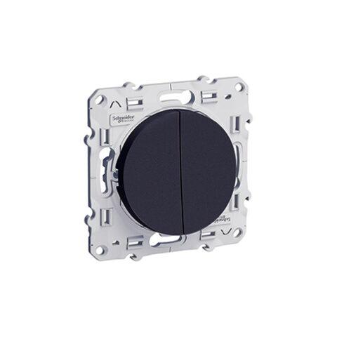Odace Double bouton poussoir Anthracite à vis - S540216