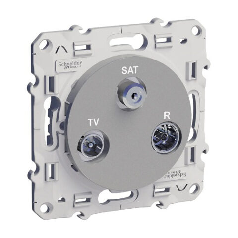Prise TV / FM / SAT - 1 entrée - aluminium - S530461