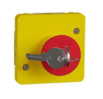 Arrêt d'urgence à clé IP55 IK07 - Jaune - Mureva Styl - MUR35052