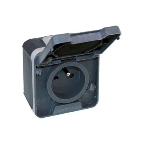 Prise 2P+T 1 poste - 16A - 250V - Gris - Oxxo - 60840