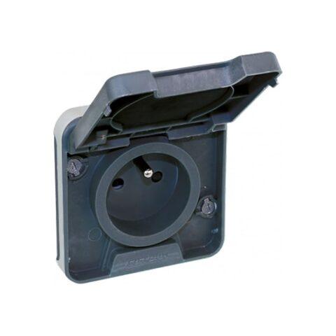 Prise 2P+T 16A - 1 poste - 250V - Gris - 60845