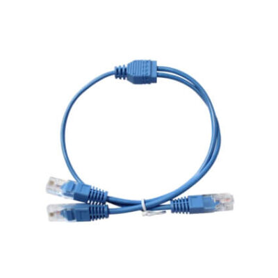 Cordon Y UTP 2 paires Bleu 0,5m RJ45 2 RJ45