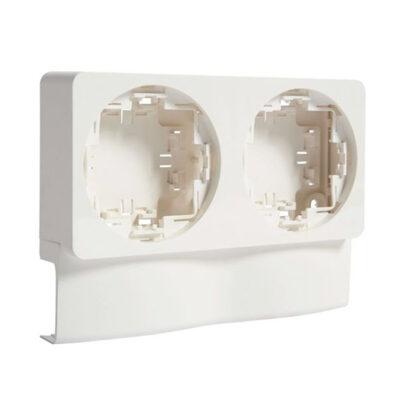 Support double appareillage saillie ateha pour ATA16x30 blanc polaire