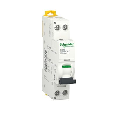 Disjoncteur 2A - iDT40T Acti9 - 4.5/6kA - Courbe C - 1P+N - A9P22602