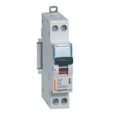 Disjoncteur Phase+Neutre DNX³4500 6kA arrivée et sortie borne à vis - 1P+N 230V_ 6A courbe C - 1 module-min
