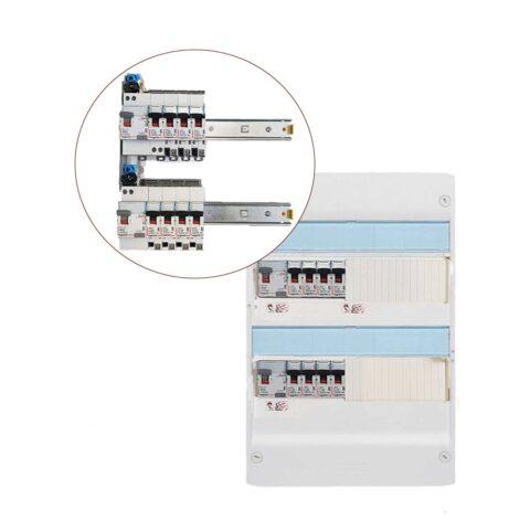 Tableau électrique équipé 2 rangées 1ID 63AC - 1ID 40AC - 8 disjonteurs