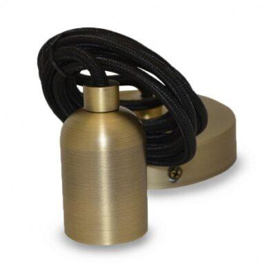 El-vision Suspension Douille E27 Bronze mat Cylindre Rond + Câble 2m -5010